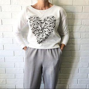 Zara trafaluc thin cotton skulls heart sweatshirt